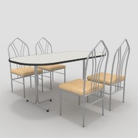 table chairs-3 chairs 3d 3ds