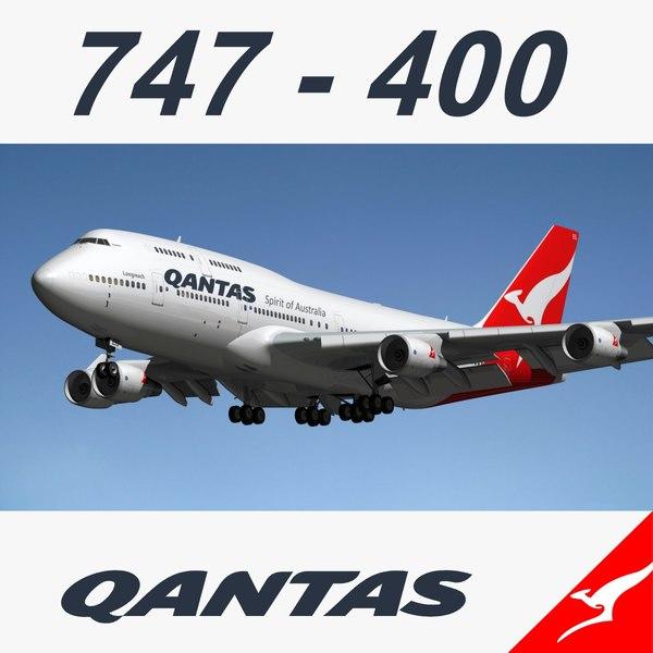 3d boeing 747-400 qantas