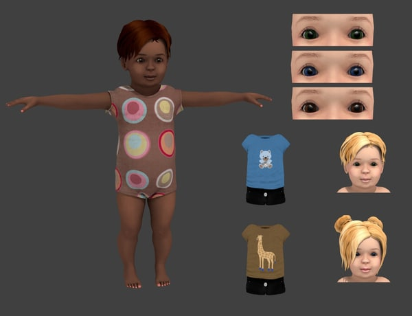 3d model clothes rigged girl
