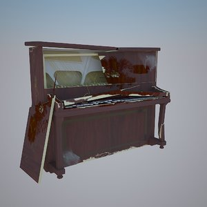 3d piano broken damage model