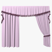 3d model curtains pink 002