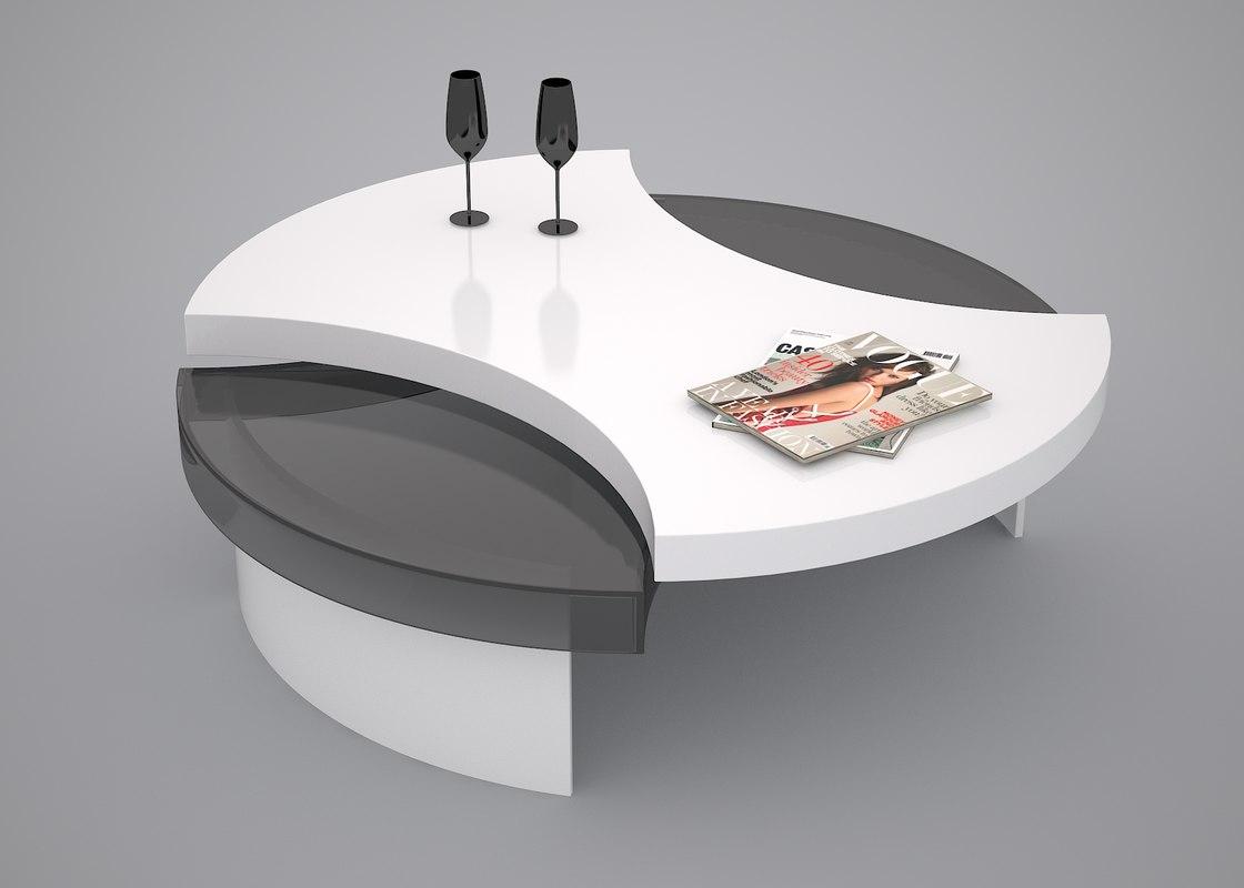 coffee table desk black 3d model