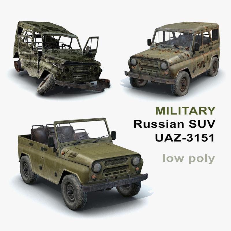russian military uaz-3151 set 3d model