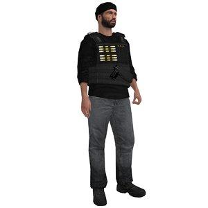 rigged dea agent 2 3d max