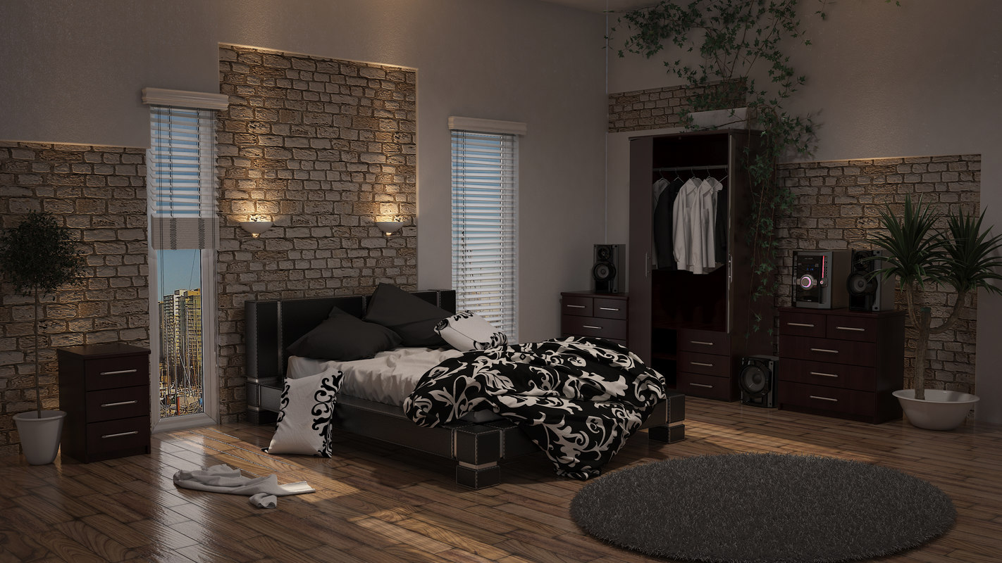 3d double leather bed messy