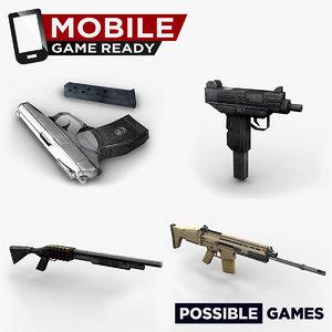 weapon ready mobile pistol uzi 3d model