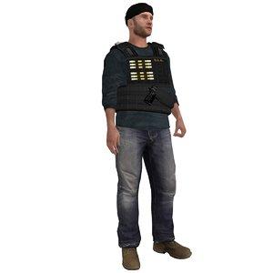 3d rigged dea agent
