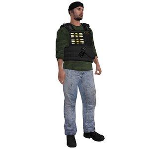 3d rigged dea agent model