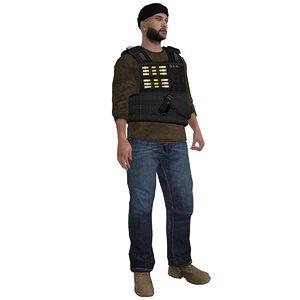 3d rigged dea agent 4 model