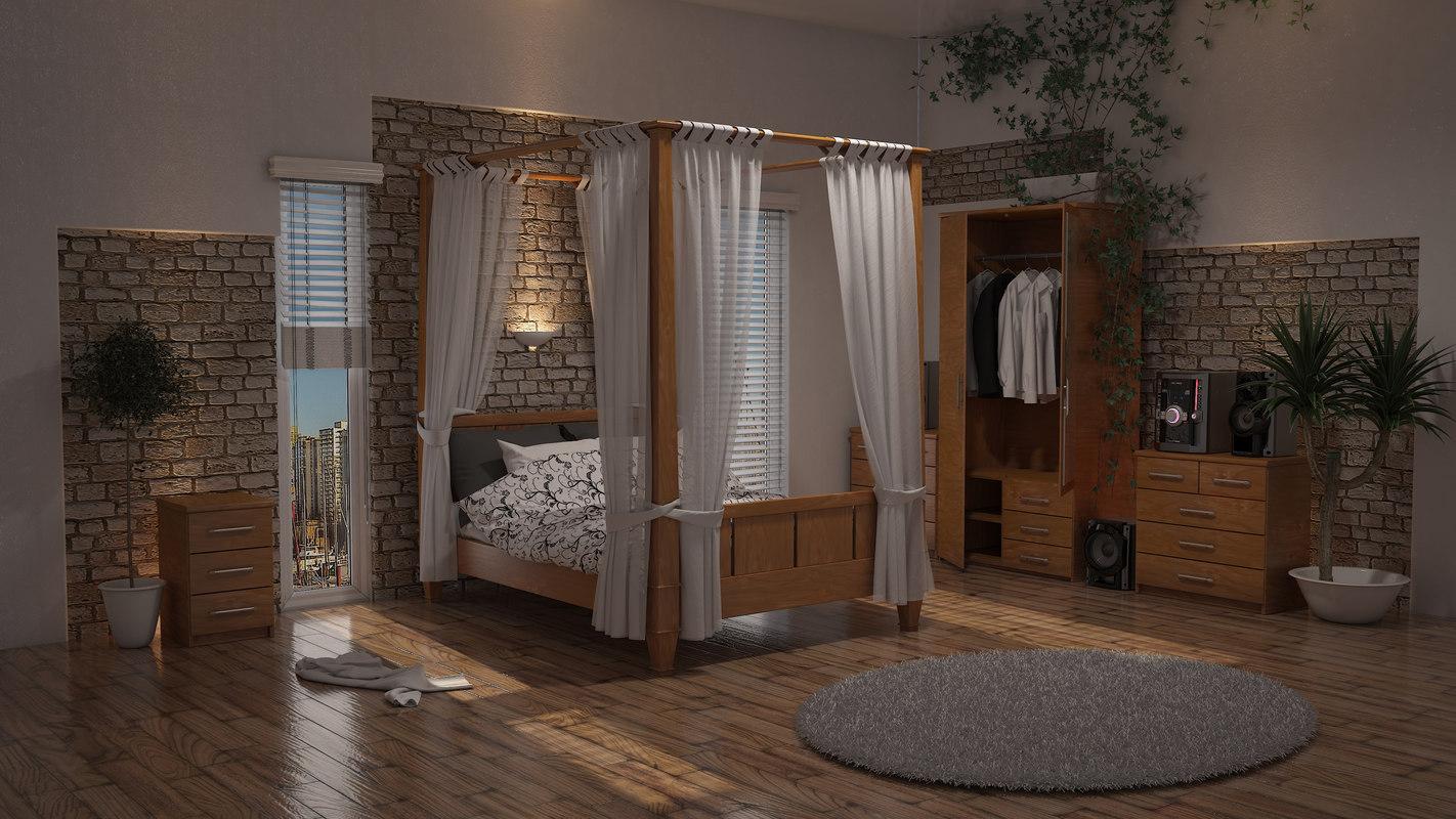 3d double poster bed plain