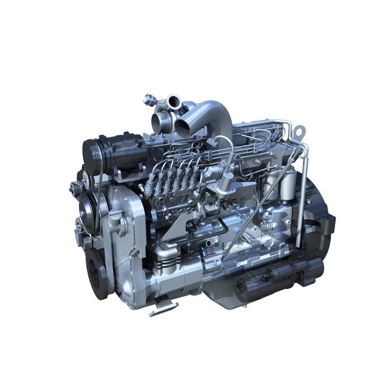 6 cylinder diesel engine 3d model