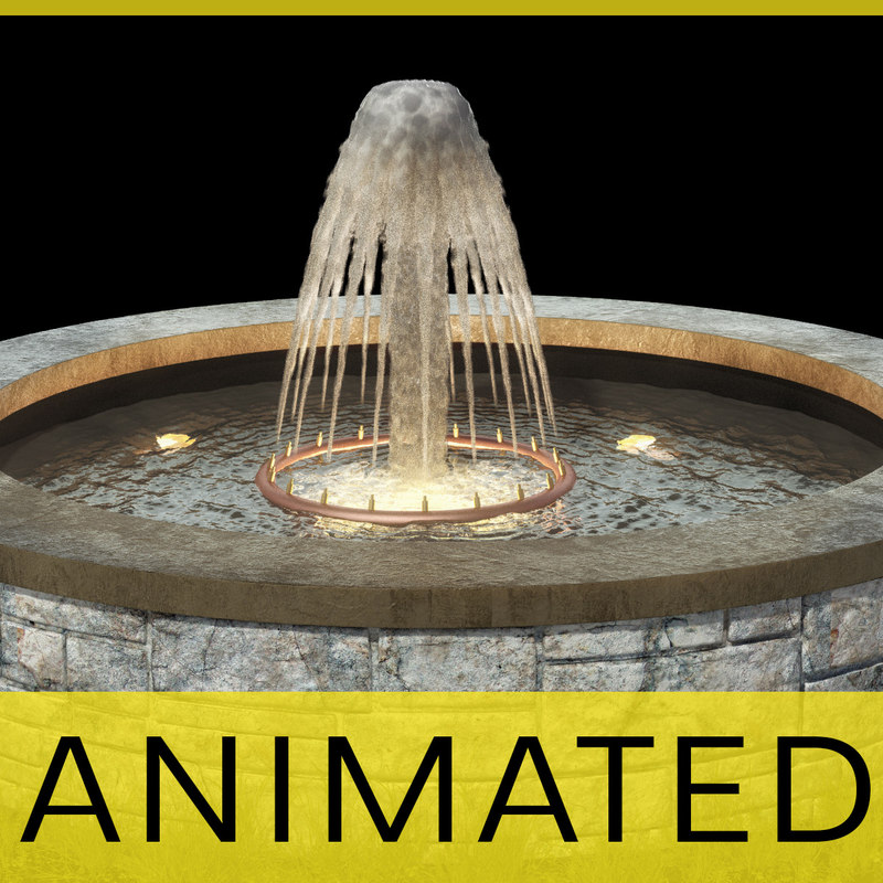 3d garden fountain animation water