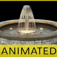 3d garden fountain animation water