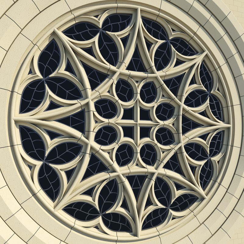 Gothic rose window collegiate 3d 3ds for Rose window design