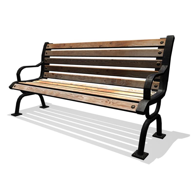 classic park bench obj