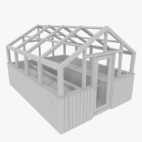 wood greenhouse 3d obj