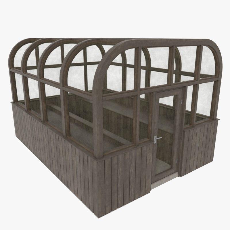 3d model wood greenhouse