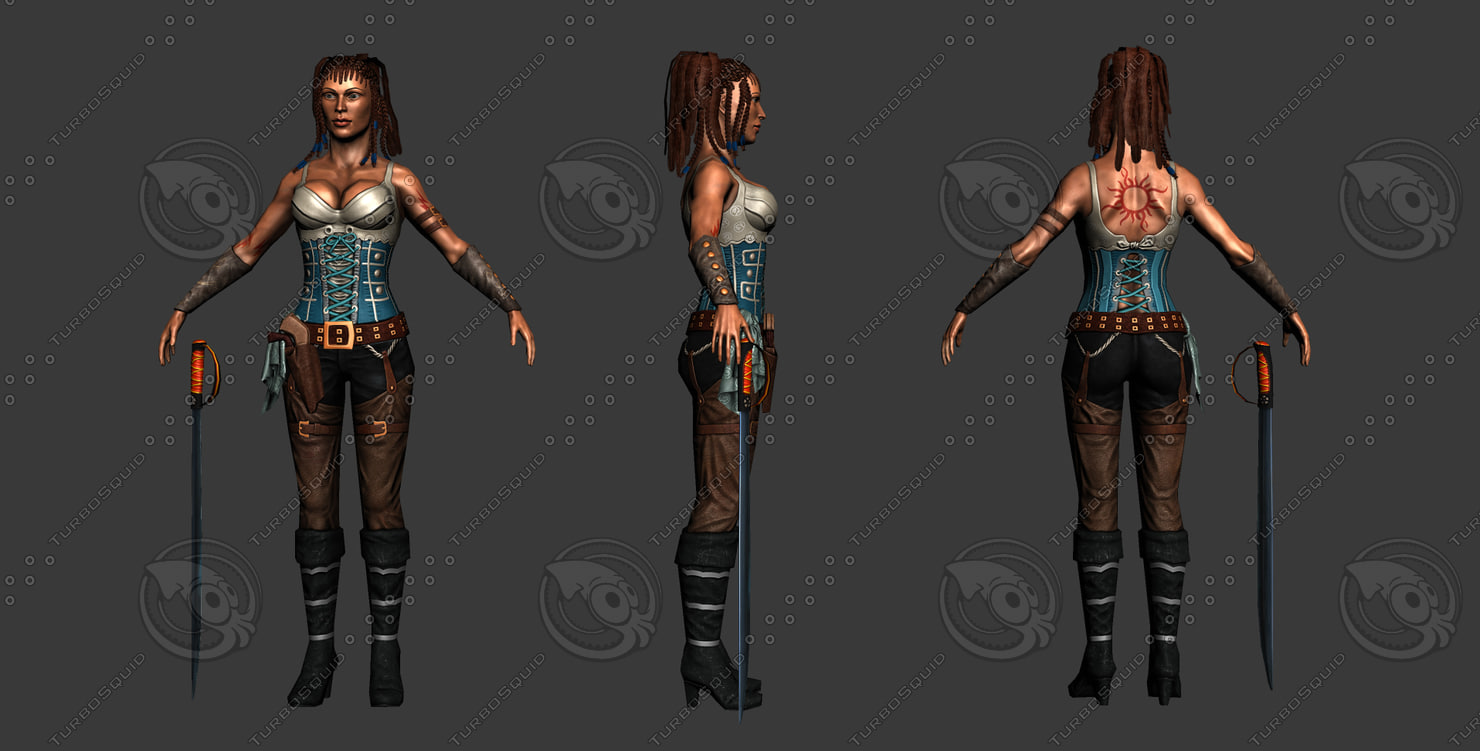 pirate girl 3d model