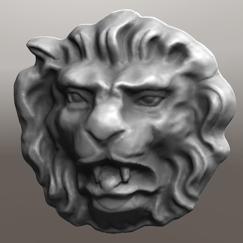3d bas-relief lion head model