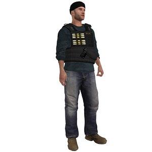 rigged dea agent 3d max