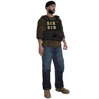 rigged dea agent 4 3d model