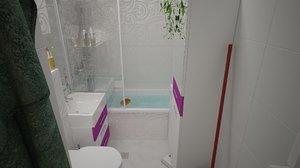 3ds max apartament bathroom