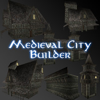 3d model medieval city builder building houses