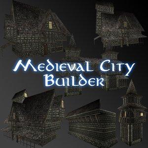 3d model medieval city builder building houses