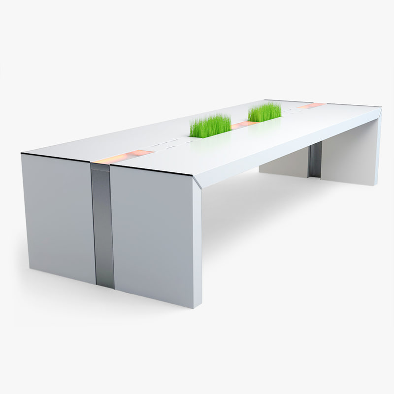 3d white conference table
