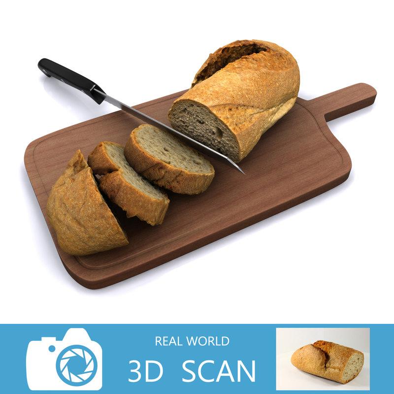 3d - bread b slice model