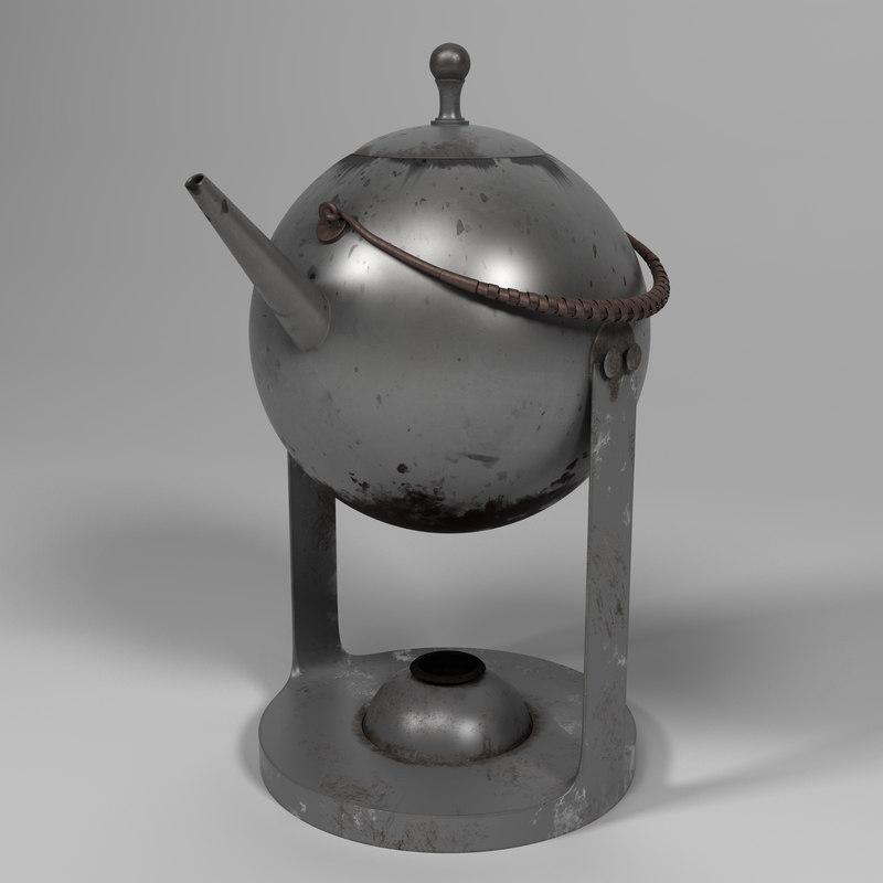 3d old vintage teapot