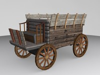 Medieval Carriage Low-Poly