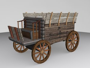 medieval low-poly carriage 3d model