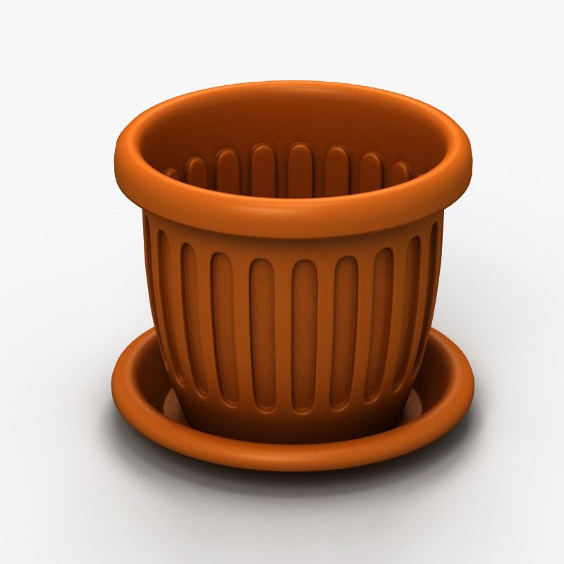 3d model of plastic flowerpot