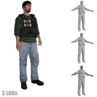 3d model rigged dea agent 3