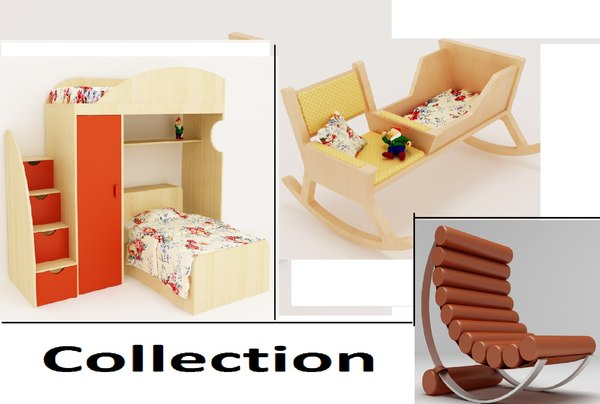 3d furniture baby bed model