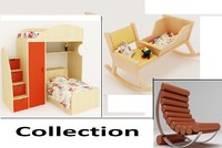 3d furniture baby bed model