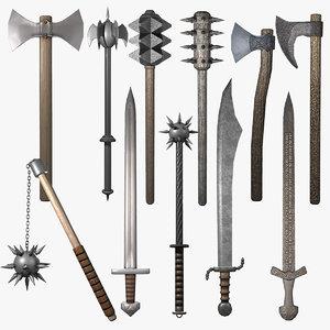 medieval weapon obj