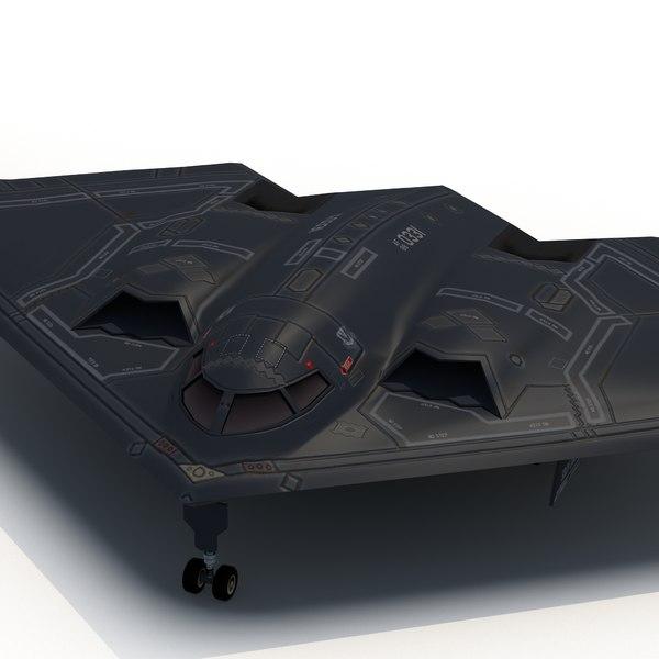 3d model b2a stealth bomber spirit