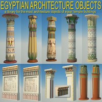 egyptian architecture objects columns obj