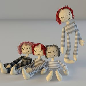 3d model of dolls textile