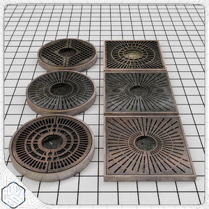 tree planter grate set 3d 3ds