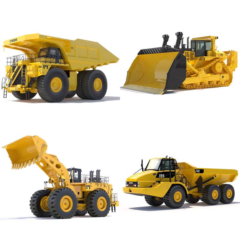 3d model articulated dump truck bulldozer