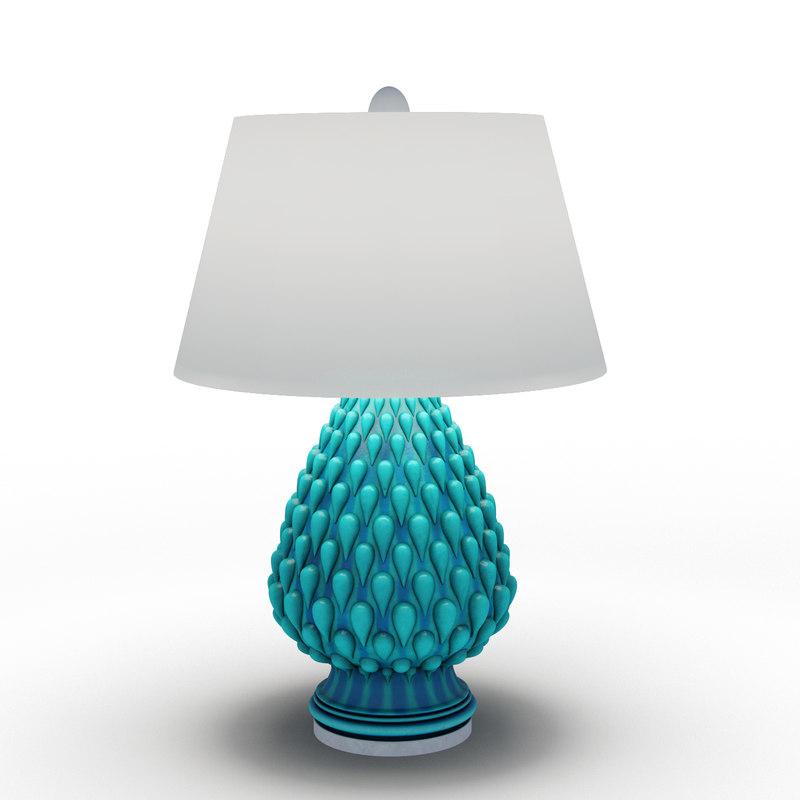 3d aqua raindrop ceramic table lamp model
