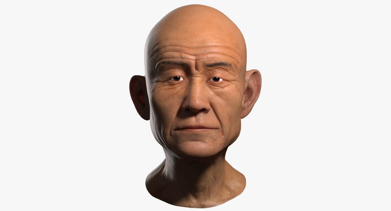 3d old man head asian