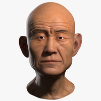 3d old man head asian