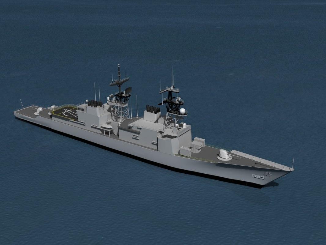 kidd class destroyer 3d model