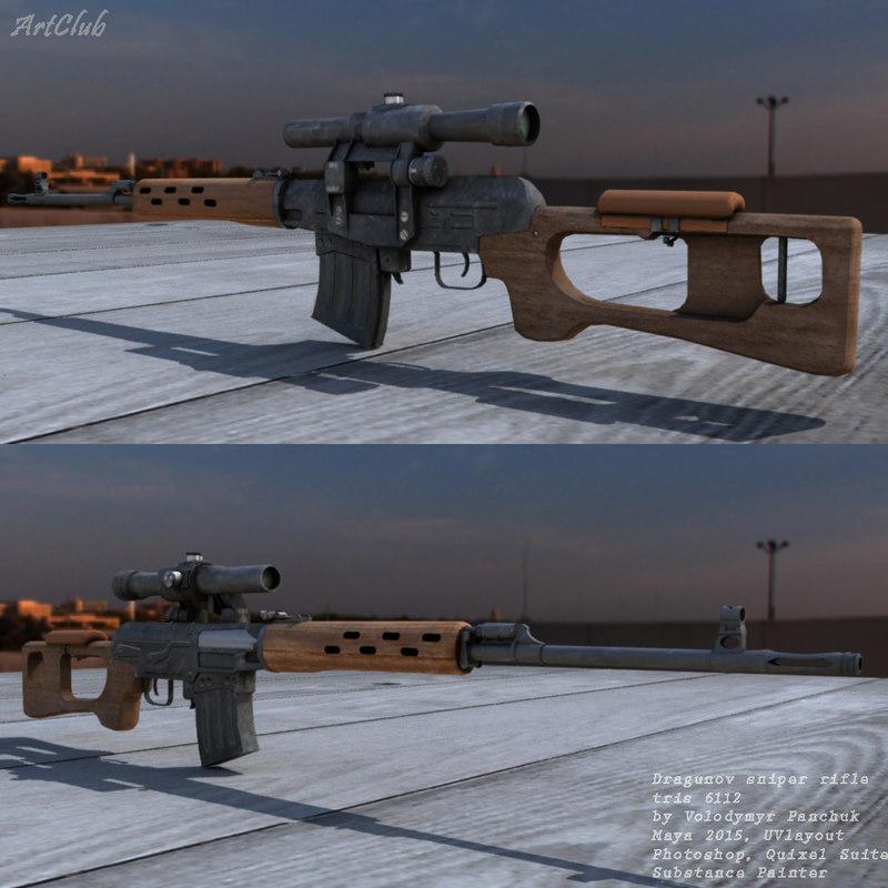 3d model dragunov sniper riffle