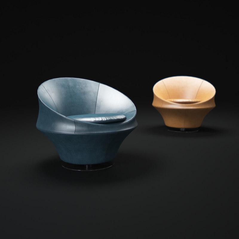3d model of leolux-swivel-leather-armchair