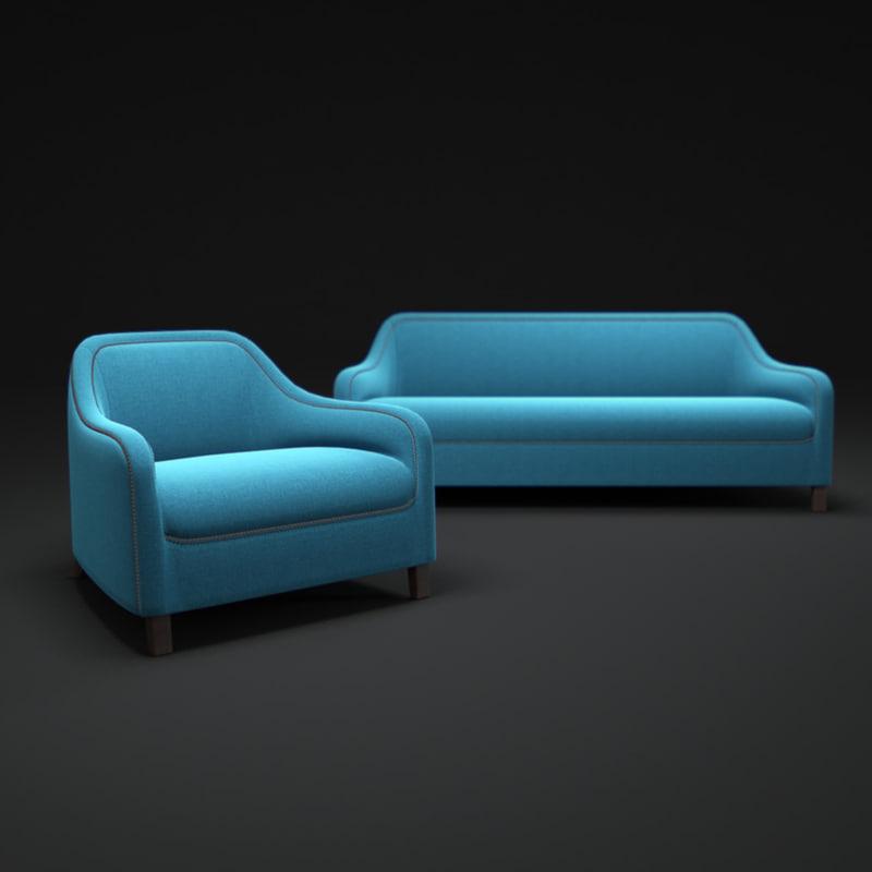 arpege-cloth-sofa 3d model